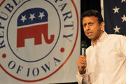 Republican presidential candidate Louisiana Gov. Bobby Jindal speaks at the Growth and Opportunity Party, at the Iowa State Fair October 31, 2015 in Des Moines, Iowa. With just 93 days before the Iowa caucuses Republican hopefuls are trying to shore up support amongst the party.