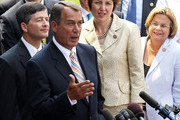U.S. Speaker of the House Rep. John Boehner (R-OH) speaks to the media as (L-R) House Republican Conference Chairman Rep. Jeb Hensarling (R-TX), Rep. Cathy McMorris Rodgers (R-WA), and Rep. Ileana Ros-Lehtinen (R-FL) listen after a meeting with President Barack Obama June 1, 2011 at the White House in Washington, DC. Obama had a meeting with members of the House Republican Conference on the national debt ceiling, after the House rejected a bill for a $2.4 trillion debt hike yesterday.
