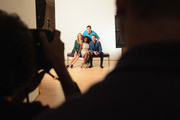 (L-R) TV personalities Marianne Garvey, Delaina Dixon, Rob Shuter (in back) and Noah Levy pose for the Resident Magazine cover shoot of the hosts of VH1's 'The Gossip Table' on September 17, 2014 at Woodward Gallery in New York City.