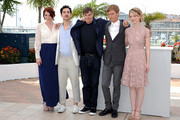 """(L-R) Producer Bryce Dallas Howard, screenwriter Jason Lew, director Gus van Sant, actor Henry Hopper and actress Mia Wasikowska attends the """"Restless"""" Photocall during the 64th Cannes Film Festival at the Palais des Festivals on May 13, 2011 in Cannes, France."""