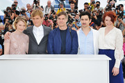 """(L-R) Actors Mia Wasikowska, Henry Hopper, director  Gus Van Sant, writer Jason Lew and Bryce Dallas Howard attend the """"Restless"""" photocall during the 64th Annual Cannes Film Festival on May 13, 2011 in Cannes, France."""