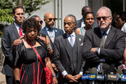 (L - R) Gwen Carr, mother of the late Eric Garner, Ellisha Garner, Rev. Al Sharpton, Esaw Garner, wife of the late Eric Garner, Rev. Al Sharpton and family attorney Jonathan Moore listen to questions from the press after meeting with Department of Justice officials, June 21, 2017 in the Brooklyn borough of New York City. The family was expected to receive a status report on the progress of the civil rights investigation into Eric Garner's police-involved choking death.