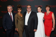 Dr. Jose Baselga, Physician-in-Chief and Chief Medical Officer of Memorial Sloan Kettering, Revlon Global Brand Ambassador Halle Berry, Revlon CEO, Lorenzo Delpani, Revlon Global Brand Ambassador Olivia Wilde and Dr. Jill O'Donnell-Tormey, CEO, Cancer Research Institute celebrate the Revlon LOVE IS ON Million Dollar Challenge at the Rainbow Room on November 18, 2015 in New York City.