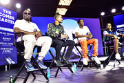 "(L-R) Sean ""Diddy"" Combs, Quincy, Christian Combs and Justin Combs speak onstage during day 3 of REVOLT Summit x AT&T Summit on September 14, 2019 in Atlanta, Georgia."