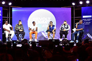 "(L-R) Sean ""Diddy"" Combs, Quincy, Christian Combs, Justin Combs, DJ Khaled and Andre Harrell speak onstage during day 3 of REVOLT Summit x AT&T Summit on September 14, 2019 in Atlanta, Georgia."