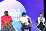 Killer Mike, T.I., and Candace Owens speak onstage during day 3 of REVOLT Summit x AT&T Summit on September 14, 2019 in Atlanta, Georgia.