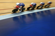 Jon Dibben, Owen Doull, Andy Tennant and Steven Burke of Team Wiggins competes against Great Britain in the Team Pursuit race during the Elite Track Cycling Revolution Series at National Cycling Centre on January 2, 2016 in Manchester, England.