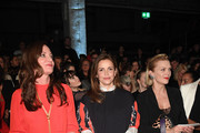 (L-R) Natalia Woerner, Rebecca Immanuel and Anna Loos attend the Riani show during Berlin Fashion Week Autumn/Winter 2020 at Kraftwerk Mitte on January 15, 2020 in Berlin, Germany.