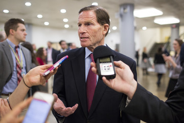 Richard Blumenthal Senate Lawmakers Address The Media After Weekly Policy Luncheons