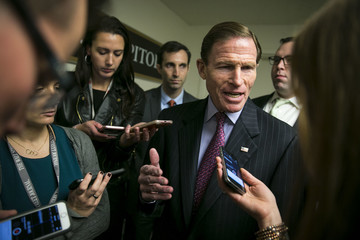 Richard Blumenthal Senate Lawmakers Address the Media After Their Weekly Policy Luncheons