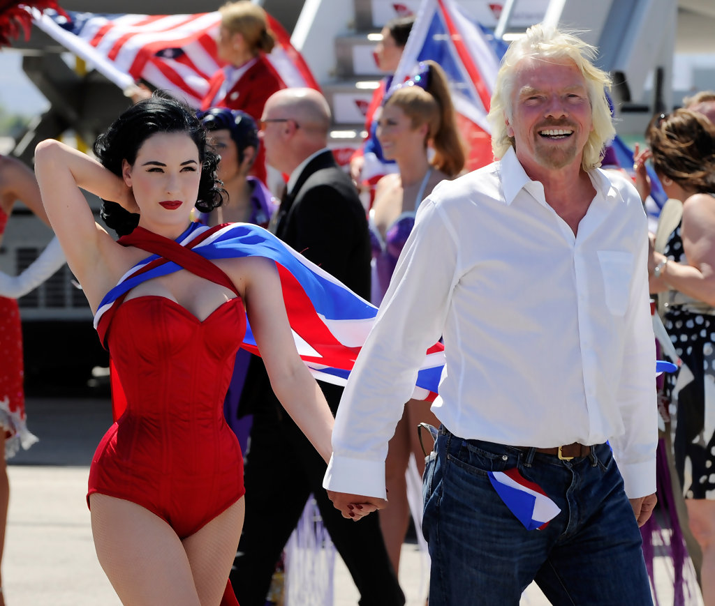 Richard Branson celebrates Virgin Atlantics entry to