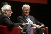 """Richard Gere speaks to chair Claudio Masenza (L) after the """"Days Of Heaven"""" screening during the 6th International Rome Film Festival at Sala Sinopoli on November 3, 2011 in Rome, Italy."""
