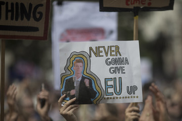 Rick Astley People's Vote Protesters March On Parliament