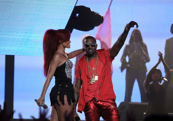 Rihanna Singer Rihanna (L) and rapper Kanye West perform during the 2011 NBA All-Star game halftime show at Staples Center on February 20, 2011 in Los Angeles, California. NOTE TO USER: User expressly acknowledges and agrees that, by downloading and or using this photograph, User is consenting to the terms and conditions of the Getty Images License Agreement.