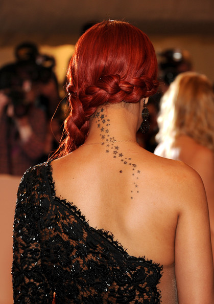 "Rihanna A close-up of singer Rihanna's tattoo at the ""Alexander McQueen: Savage Beauty"" Costume Institute Gala at The Metropolitan Museum of Art on May 2, 2011 in New York City."