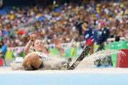 Marie-Amelie Le Fur of France jumps a new world record in the Women's Long Jump - T44 final during the Rio 2016 Paralympic Games at Olymic stadium on September 9, 2016 in Rio de Janeiro, Brazil.
