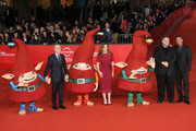 Jeffrey Katzenberg, producer Christina Steinberg, executive producer Guillermo del Toro and director Peter Ramsey attends 'Rise Of The Guardians' Premiere during The 7th Rome Film Festival at Auditorium Parco Della Musica on November 13, 2012 in Rome, Italy.