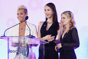 (L-R) Frankie J. Grande, Juliet Evancho and Jackie Evancho speak onstage during Rising Stars at the GLAAD Media Awards on May 4, 2018 at the New York Hilton Midtown in New York City.
