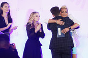 Juliet Evancho, Jackie Evancho, Zeke Smith and Frankie J. Grande speak onstage during Rising Stars at the GLAAD Media Awards on May 4, 2018 at the New York Hilton Midtown in New York City.