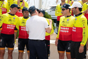 Prince Albert II of Monaco kisses Princess Charlene of Monaco as her winning team members David Tanner,Christophe Dominici, Terence Parkin and Mark Webber stand during the Riviera Water Bike Challenge 2018 on June 17, 2018 in Monaco, Monaco.