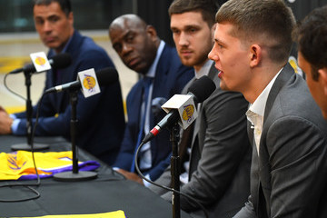 Rob Pelinka Los Angeles Lakers Introduce 2018 Draft Picks