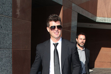 Robin Thicke Robin Thicke and Pharrell Williams Arrive at Court