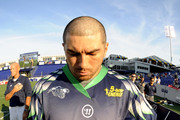 Joe Walters #1 of the Chesapeake Bayhawks lined up for the National Anthem before a Major League Lacrosse game against the Rochester Rattlers on July 17, 2014 at Navy-Marine Corps Memorial Stadium in Annapolis, Maryland.