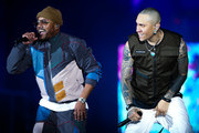 (L-R) Apl.de.Ap and Taboo of Black Eyed Peas perform on stageduring Black Eyed Peas concert at Cidade do Rock on October 05, 2019 in Rio de Janeiro, Brazil.