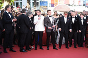"(L-R) Giles Martin, Adam Bohling, Director Dexter Fletcher, Richard Madden, Taron Egerton, Sir Elton John, David Furnish and Kit Connor attend the screening of ""Rocket Man"" during the 72nd annual Cannes Film Festival on May 16, 2019 in Cannes, France."