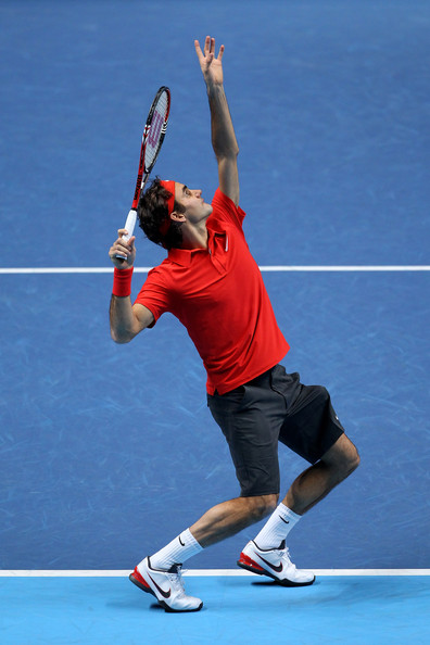 Roger Federer Roger Federer of Switzerland serves the ball during his men's final match against Rafael Nadal of Spain during the ATP World Tour Finals at O2 Arena on November 28, 2010 in London, England.
