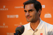 Roger Federer during the arrival press conference in Cape Town ahead of The Match in Africa against Rafael Nadal at Cape Town International Airport on February 05, 2020 in Cape Town, South Africa.