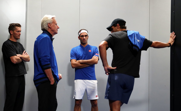 Laver Cup 2019 - Day 3 [singles,shoulder,joint,event,muscle,fun,room,eyewear,recreation,competition event,team,roger federer,bjorn borg,teammates,players,thomas enqvist,rafael nadal,team europe,team world,laver cup]