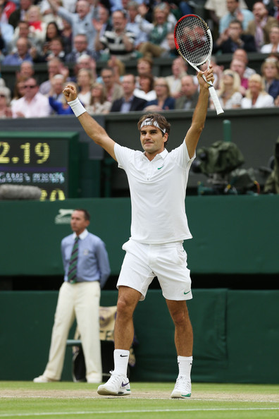 Roger Federer Roger Federer of Switzerland celebrates match point during his Gentlemen's Singles semi final match against Novak Djokovic of Serbia on day eleven of the Wimbledon Lawn Tennis Championships at the All England Lawn Tennis and Croquet Club on July 6, 2012 in London, England.