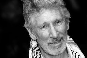 """[Editor's Note: Image was converted to black and white] Roger Waters walks the red carpet ahead of the """"Roger Waters Us + Them"""" screening during the 76th Venice Film Festival at Sala Darsena on September 06, 2019 in Venice, Italy."""