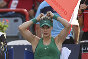 Eugenie Bouchard of Canada receives medical attention on her foot against Elise Mertens of Belgium during day two of the Rogers Cup at IGA Stadium on August 7, 2018 in Montreal, Quebec, Canada.