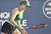 Eugenie Bouchard of Canada shows her frustration after losing a point against Elise Mertens of Belgium during day two of the Rogers Cup at IGA Stadium on August 7, 2018 in Montreal, Quebec, Canada.