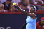 Venus Williams serves against Simona Halep of Romania during day four of the Rogers Cup at IGA Stadium on August 9, 2018 in Montreal, Quebec, Canada.