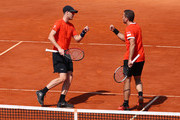 Jamie Murray of Great Britain and Bruno Soares of Brazil celebrate a point against Robin Haase and Wesley Koolhof of the Netherlands in their semifinal match during day seven of the Rolex Monte-Carlo Masters at Monte-Carlo Country Club on April 20, 2019 in Monte-Carlo, Monaco.