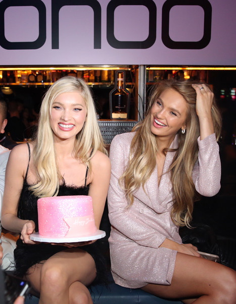 Boohoo x All That Glitters Launch Party [thigh,leg,blond,fun,magazine,long hair,party,elsa hosk,all that glitters launch party,l-r,california,los angeles,all that glitters,romee strijd]