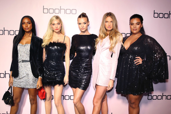 Boohoo x All That Glitters Launch Party [all that glitters,romee strijd,all that glitters launch party,fashion model,clothing,little black dress,fashion,event,dress,fashion design,cocktail dress,model,style,california,los angeles,jasmine tookes,josephine skriver,elsa hosk,yvonne simone]