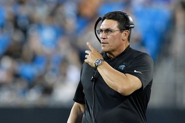 Miami Dolphins v Carolina Panthers [referee,coach,championship,player,competition event,official,gesture,sport venue,ron rivera,bank of america stadium,charlotte,north carolina,carolina panthers,miami dolphins,game]