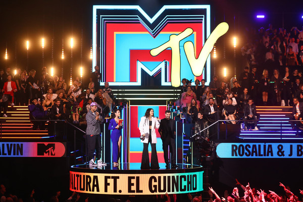 MTV EMAs 2019 - Show [stage,performance,event,fan,crowd,performing arts,musical theatre,heater,stage equipment,sport venue,rosalia,el guincho,stage,best collaboration award,seville,spain,exhibition centre,mtv,emas 2019 - show,fibes conference]