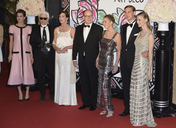 (L-R) Charlotte Casiraghi, Karl Lagerfeld, Princess Caroline of Hanover, Prince Albert II of Monaco, Paola Marzotto, Pierre Casiraghi and Beatrice Borromeo attend the Rose Ball 2015 in aid of the Princess Grace Foundation at Sporting Monte-Carlo on March 28, 2015 in Monte-Carlo, Monaco.