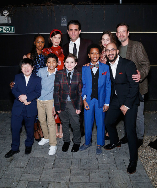 "BAM's Opening Night Party For ""Medea"" [social group,event,team,suit,uniform,formal wear,night,white-collar worker,medea,emeka guindo,orson hong,jordan boatman,victor almazar,front l-r,back l-r,jolly swag,bam,opening night party,rose byrne,bobby cannavale,dylan baker,bam strong,medea,photography,photograph,theatre]"