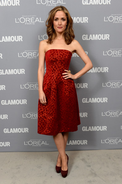 Inside the Glamour Honors the Women of the Year  [glamour honors the 23rd annual women of the year - inside,clothing,dress,cocktail dress,fashion model,shoulder,strapless dress,red,bridal party dress,fashion,joint,rose byrne,awards,new york city,glamour,women of the year]