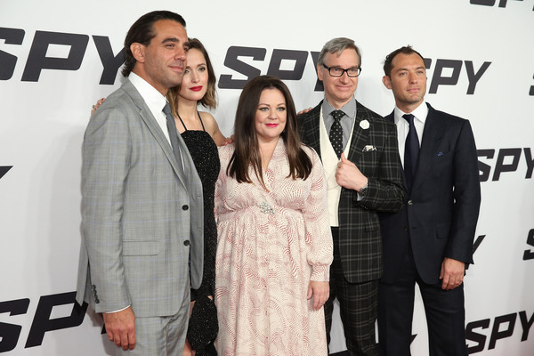 'Spy' New York Premiere [premiere,event,carpet,suit,flooring,red carpet,black-and-white,white-collar worker,style,bobby cannavale,paul feig,jude law,melissa mccarthy,rose byrne,l-r,lincoln square,new york city,spy,new york premiere]