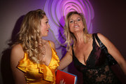 Ruth Moschner (L) and Carola Ferstl attend the Rosenball charity event at the Hotel Intercontinental on May 5, 2018 in Berlin, Germany.