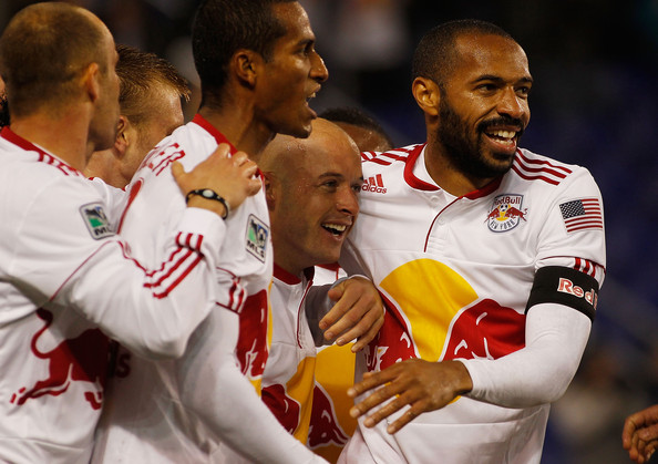 Roy Miller Luke Rodgers #9 of the New York Red Bulls celebrates his goal at 2 minutes with teammates Thierry Henry #14 and Roy Miller #7 against the San Jose Earthquakes on April 16, 2011 at Red Bull Arena in Harrison, New Jersey.