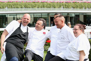 Chefs Tom Kerridge, Raymond Blanc, Steve Golding and Gemma Amor during day three of Royal Ascot at Ascot Racecourse on June 19, 2014 in Ascot, England.