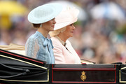 Catherine, Duchess of Cambridge and Camilla, Duchess of Cornwall arrive on day one of Royal Ascot at Ascot Racecourse on June 18, 2019 in Ascot, England.